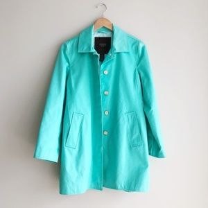Coach Sateen Turquoise Blue Walking Trench Coat